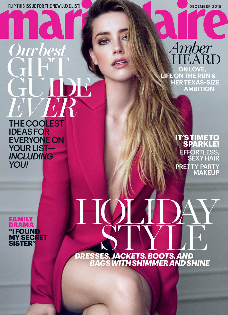 Marie Claire December cover Amber Heard